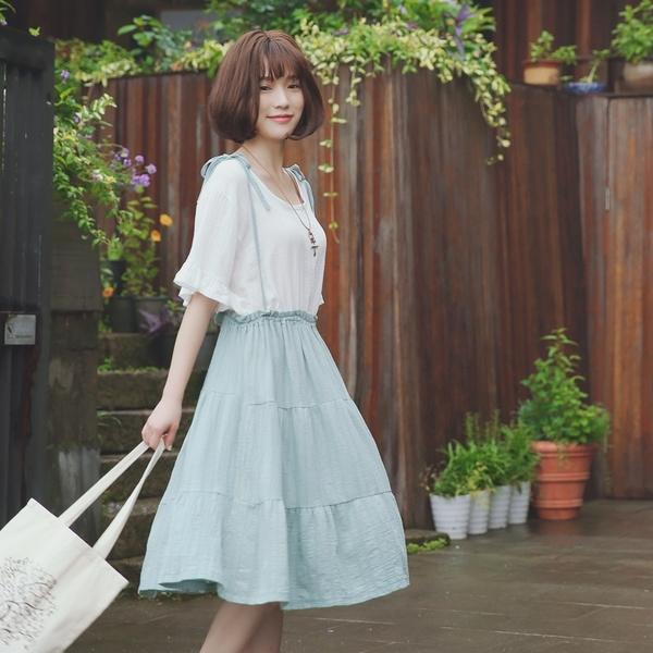 Váy Mori girl phong cách Nhật đính dây nơ - sakurafashion.vn