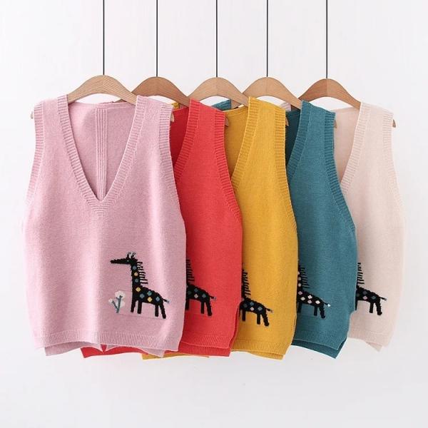 Áo len gile nữ dệt kim hươu cao cổ - sakurafashion.vn