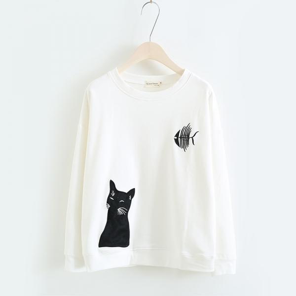 Áo Thêu Hình Chú Mèo Đang Mơ Về Cá